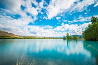 Pôr do sol, monte, cozinheiro, nacional, parque, ao lado, lago, Pukaki