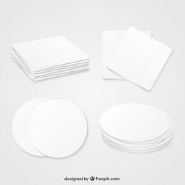 Porta-copos em branco geométricos