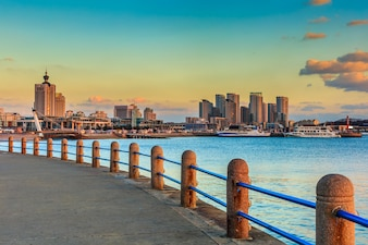 Porto, veleiros, torre, paisagem, navios, cidade, paisagem