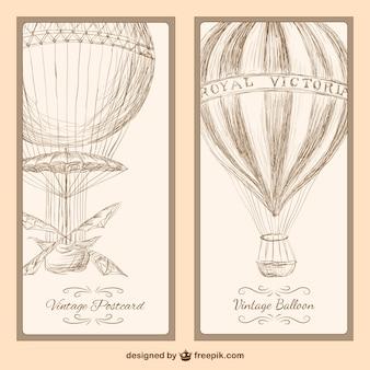 Postcard balão de ar quente do vintage