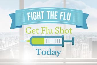 Poster da gripe anunciando