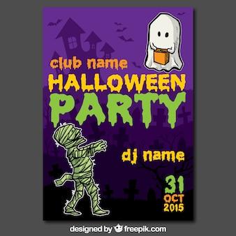 Poster do partido de Halloween com fantasma e zumbis