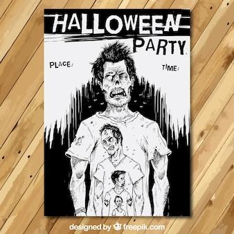 Poster do partido de Halloween com zumbis