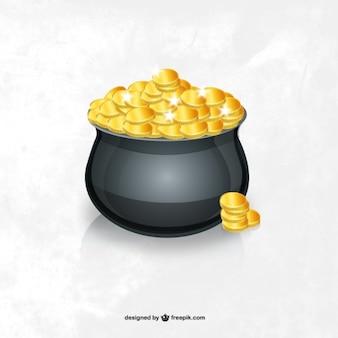 Pote de ilustração vetorial ouro
