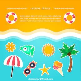 Praia de fundo com ícones do verão