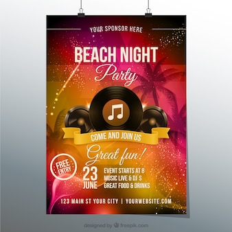 Praia poster noite de festa