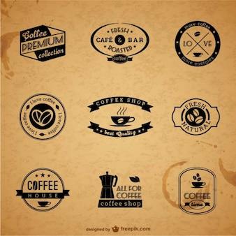 Rótulos de café premium e crachás