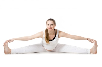 Prenatal Yoga, Wide-Angle Sentado Forward Bend pose