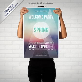 Primavera partido poster mockup
