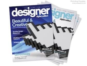 Projeto azul da capa de revista, modelo de impressão PSD