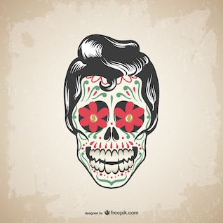 Projeto do vetor crânio tatuagem