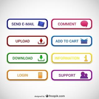 Projeto web botões vetor
