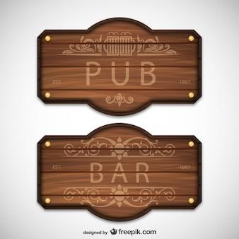 Pub e bar sinais de madeira