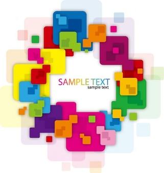 Quadro abstrato com quadrados coloridos e arredondados