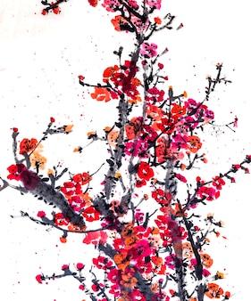 Quadro gráfico china japão botânica de água