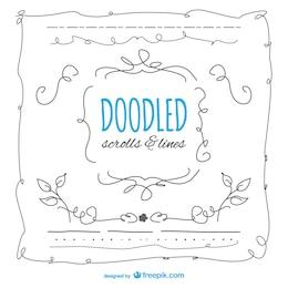 Quadros doodled definidos
