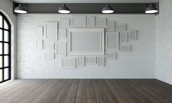 Quarto com pinturas modernas