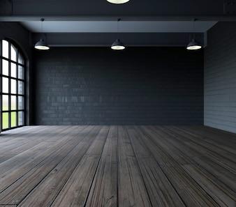 Quarto escuro com assoalho de madeira