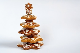 """Árvore de Natal feita de biscoitos"""