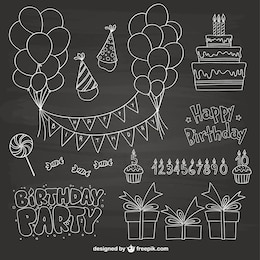 Rabiscos da festa de aniversário