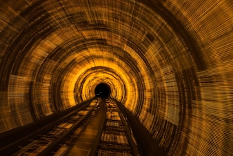Railroad Track In Tunnel