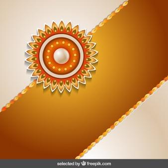 Rakhi fundo com faixa dourada