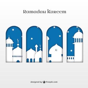 Ramadan Kareem silhuetas edifícios