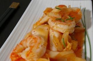 receita de camarão asiático, com fome