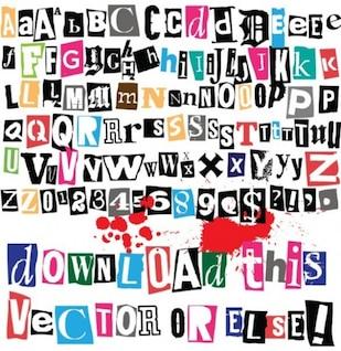 Recorte as letras do alfabeto e números com símbolos