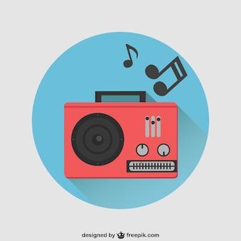 Vector rádio vermelho