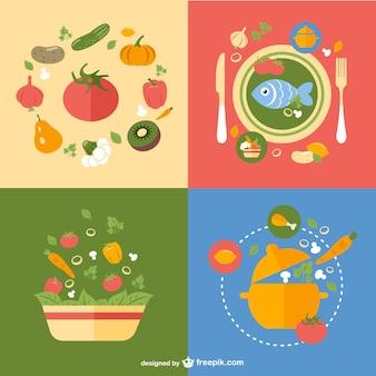 Refeições saudáveis desenhos vetoriais