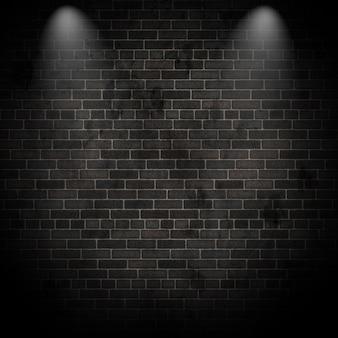 Renderização 3D de holofotes em uma parede de tijolos grunge