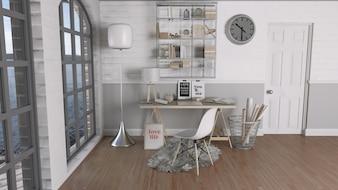 Renderização 3D de um escritório moderno
