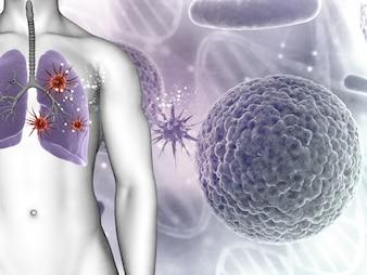 Renderização 3D de um fundo médico que mostra células de vírus em figuras masculinas pulmões