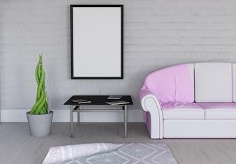 Renderização 3D de uma moldura em branco no interior da sala