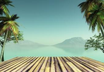 Renderização 3D de uma plataforma de madeira com vista para uma paisagem tropical