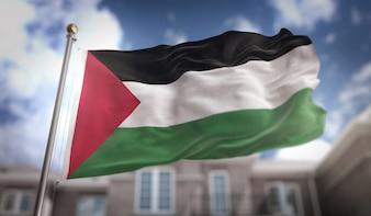 Representação 3D da bandeira da Palestina no fundo do edifício do céu azul