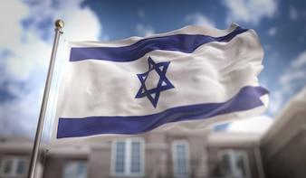 Representação 3D da bandeira de Israel no fundo do edifício do céu azul