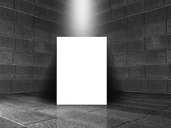 Representação 3D de um antigo quarto de pedra interior com tela em branco no chão