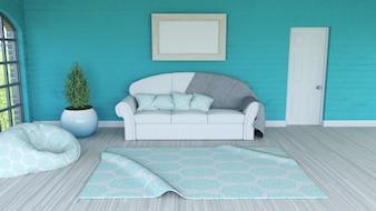 Representação 3D de um interior de sala com moldura em branco
