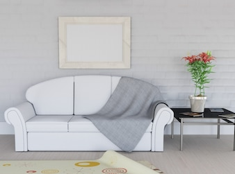 Representação 3D de um quarto interior com moldura em branco na parede