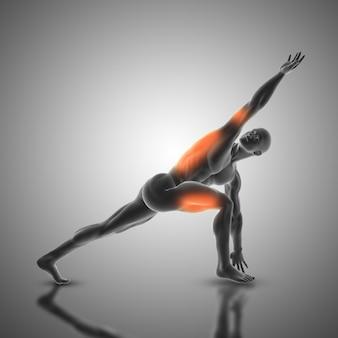 Representação 3D de uma figura masculina em ângulo lateral revolvido pose com músculos usados destacados