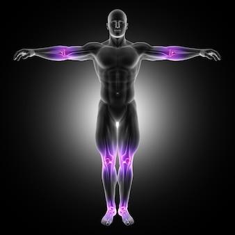 Representação 3D de uma figura médica masculina em pose de pé com juntas destacadas