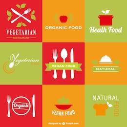 Restaurante vegetariano saudável logos orgânica