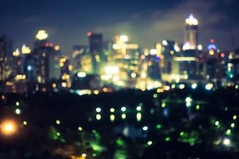 Resumo borrão e defocused cidade de Banguecoque à noite na Tailândia