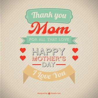 Cartão de dia das mães estilo retro