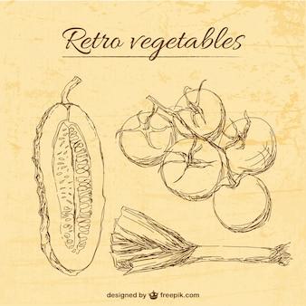Template legumes retro ilustração