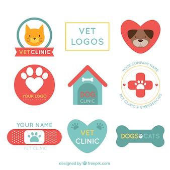 Retro veterinária logos clínica