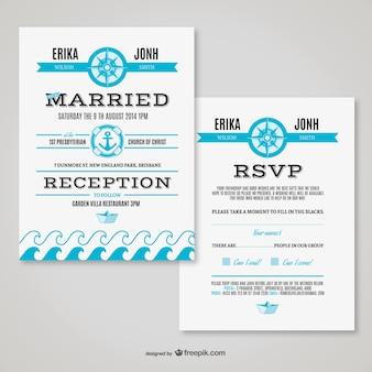 Cartão retro casamento tema marítimo