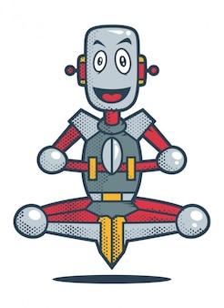 Robô de sorriso na posição de meditação